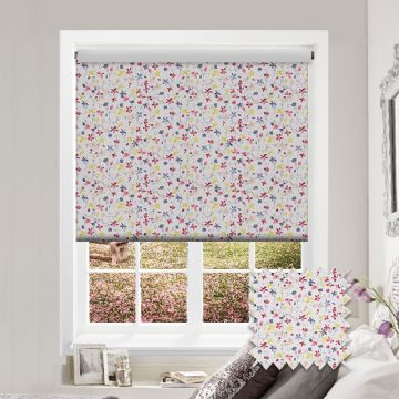 Pink Flower Watercolour Patterned Roller Blind in Flossie Saffron